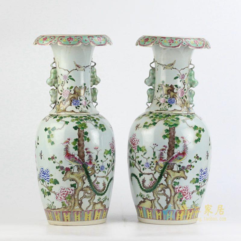 手绘仿古粉彩 凤凰 花鸟粉彩对瓶 花瓶