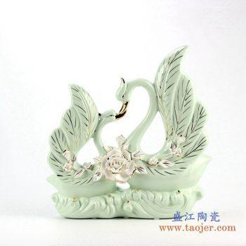 rzju01   双天鹅飞舞珐琅瓷摆件品  艺术品