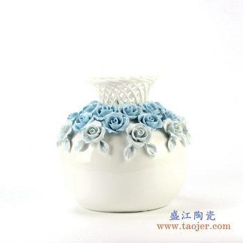 rzju02    镂空珐琅瓷花朵花瓶   艺术摆件品