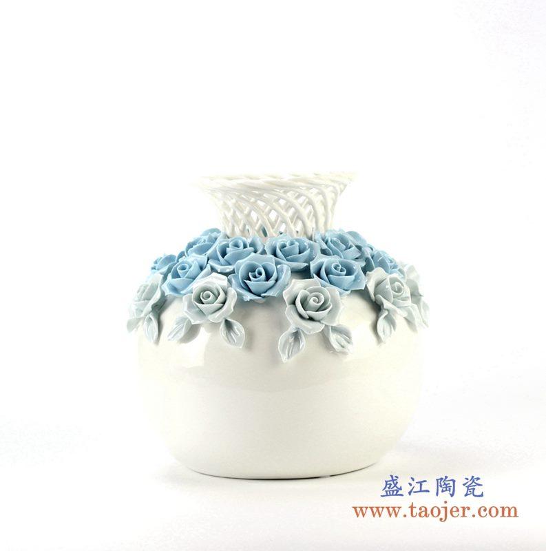 镂空珐琅瓷花朵花瓶 艺术摆件品