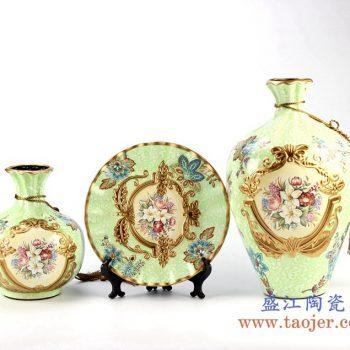 rzju04_2143    颜色釉花瓶花盆套装组合  镶金 工艺摆设品