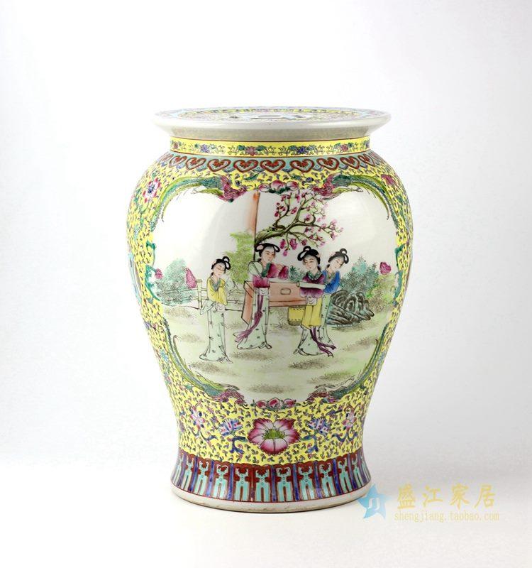 手绘人物粉彩花瓶 艺术摆件品   厂家直销