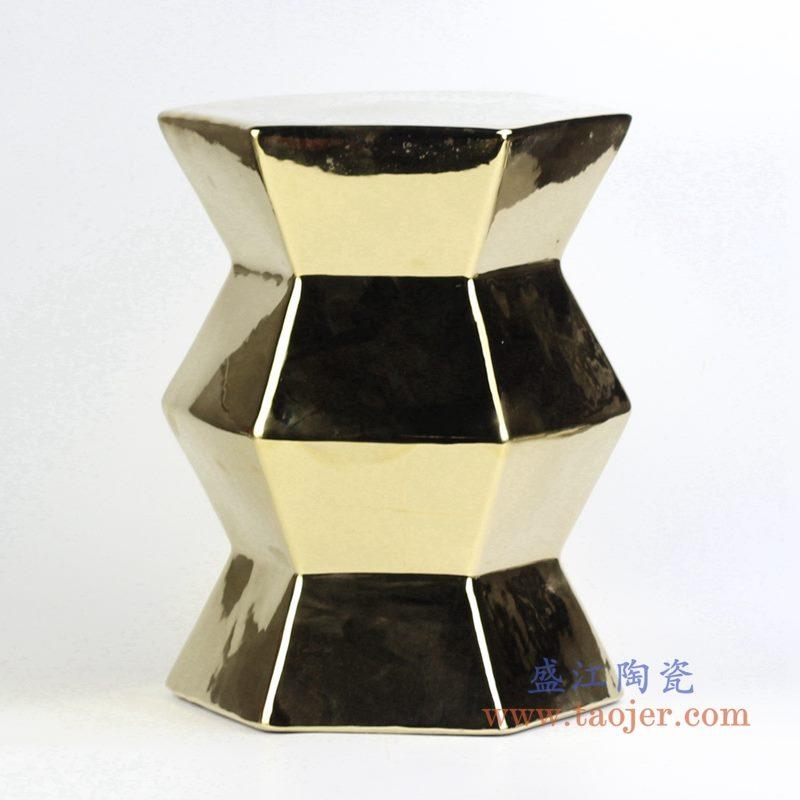 镀金6边形陶瓷凳 花园凳浴室凳