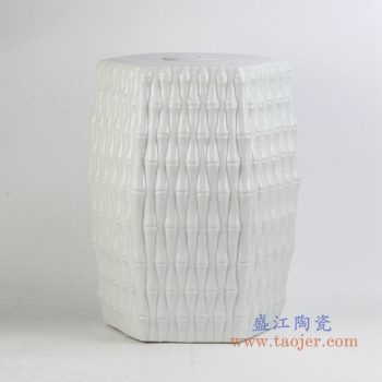 ryjf12    条纹白色多边形陶瓷凳  凉凳  花园凳 换鞋凳