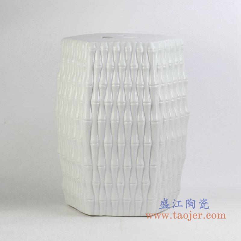 条纹白色多边形陶瓷凳