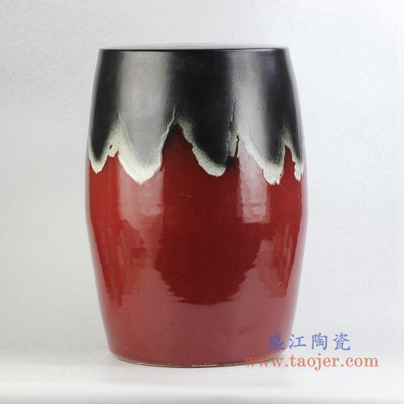 定做定制颜色釉红黑凉凳