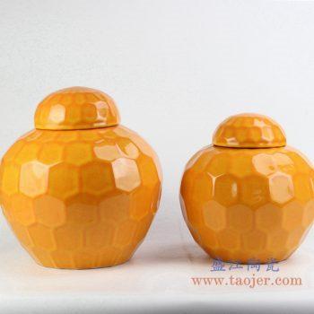 rykb149    定做定制颜色釉橙色罐  茶叶罐 储物罐