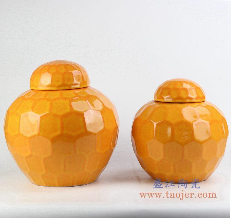 定做定制颜色釉橙色罐  茶叶罐 储物罐