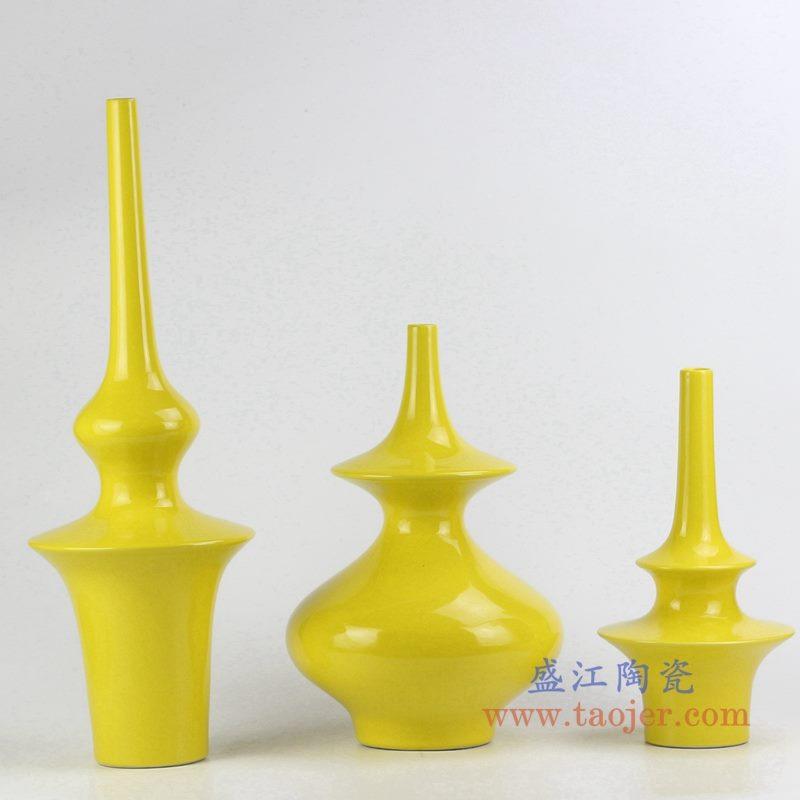 定做定制颜色釉黄色花瓶花插艺术摆件品
