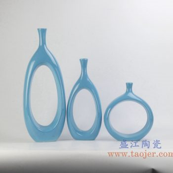 rykb151-b   定做定制颜色釉兰色异形圆孔花瓶艺术摆件品