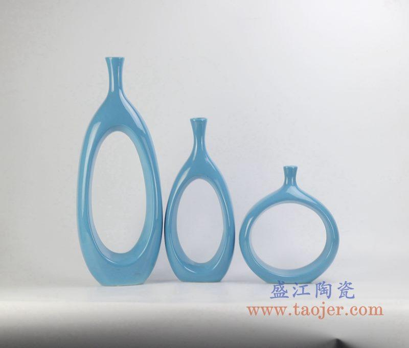 定做定制颜色釉兰色异形圆孔花瓶艺术摆件品