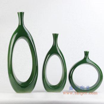 rykb151   定做定制颜色釉深绿异形圆孔花瓶艺术摆件品