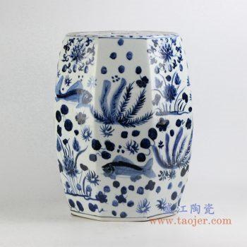 rynq195    青花陶瓷凳凉墩 多边形 花园凳