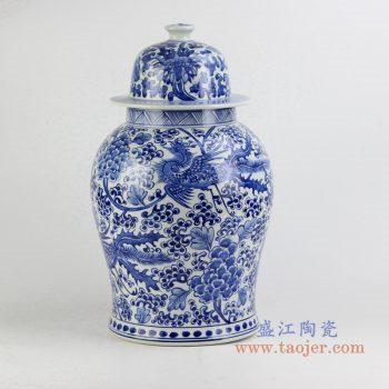 rynq196-a     青花凤凰花草将军罐  青花罐   艺术摆件品