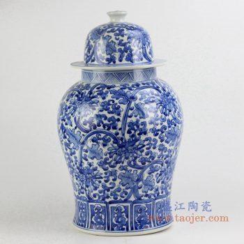 rynq196-b   青花花草将军罐 青花罐  艺术摆件品