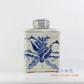 ryqq55-b    青花山水茶叶罐密封储物罐