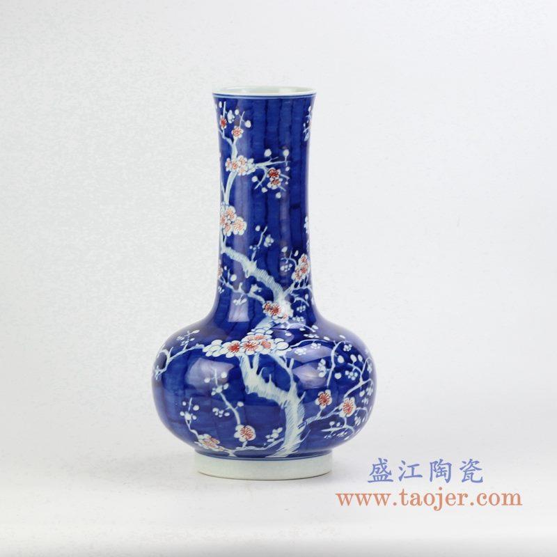 颜色釉手绘粉彩梅花瓶