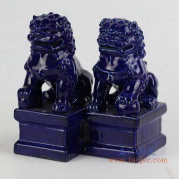 ryxp21-b    雕塑小狮子 高温祭兰釉   摆件品