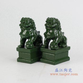 ryxp21-p    颜色釉深绿对狮双狮 摆件品