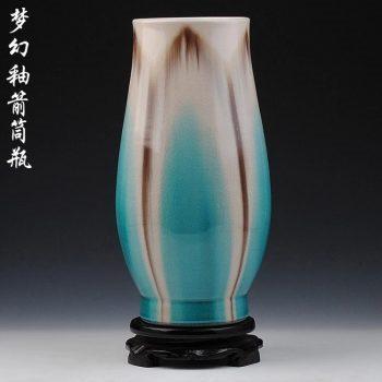 ryyo09-a     高温颜色釉 梦幻釉 窑变 浅蓝 箭筒瓶 花瓶