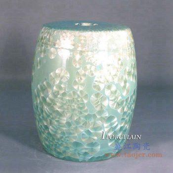 ryyx01-b     结晶釉绿色陶瓷凳 凉凳花园凳 浴室换鞋凳