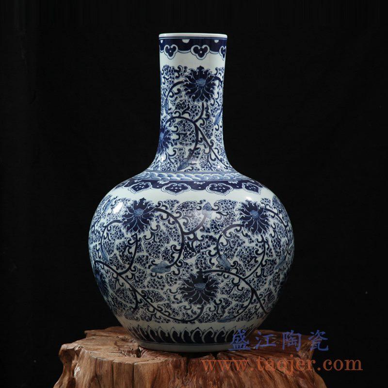 全手绘全手工胎仿古青花缠枝天球瓶