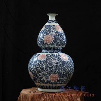 rzfq03-f     全手绘全手工胎 青花釉里红葫芦瓶  花瓶 艺术摆件品