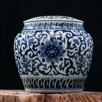 rzfq04     全手绘全手工胎青花缠枝盖坛  茶叶罐
