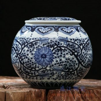 rzfq06    全手绘全手工胎青花缠枝盖坛  茶叶罐