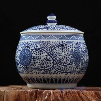rzfq07-01   全手绘全手工胎 青花缠枝盖罐之七 茶叶罐