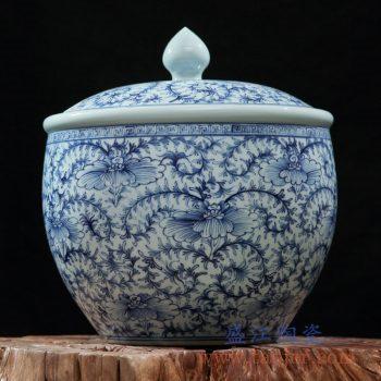 rzfq21-01     全手绘全手工胎青花水草图盖坛 茶叶罐