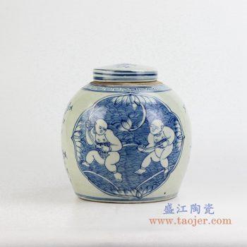 rzfz01-g    青花人物罐 储物罐 茶叶密封罐