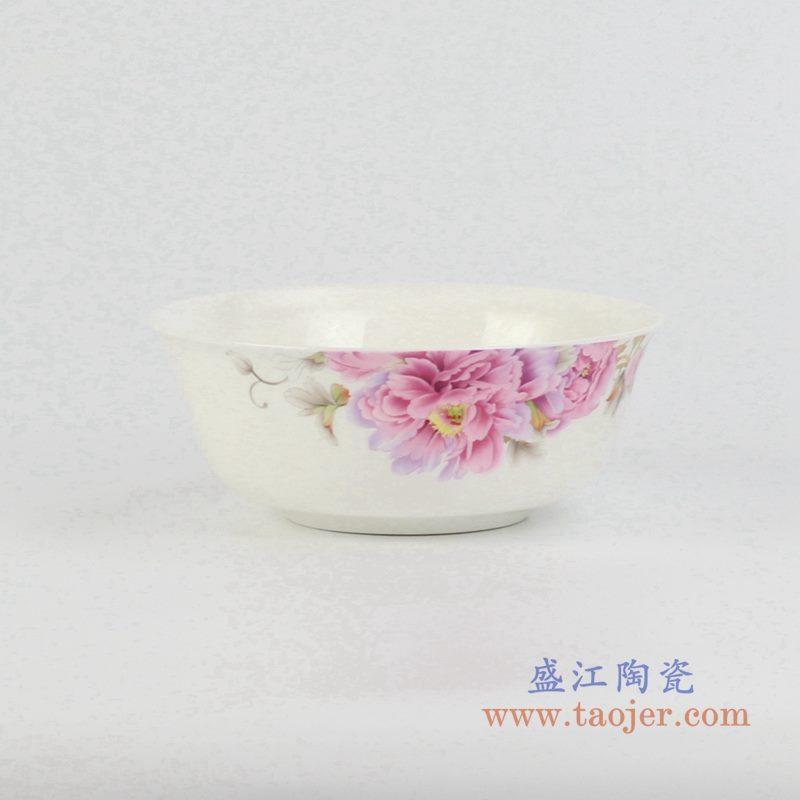 6寸骨瓷红牡丹面碗 汤碗