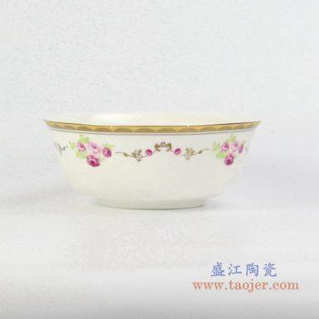 rzhf04-b   6寸骨瓷金边红月季面碗汤碗