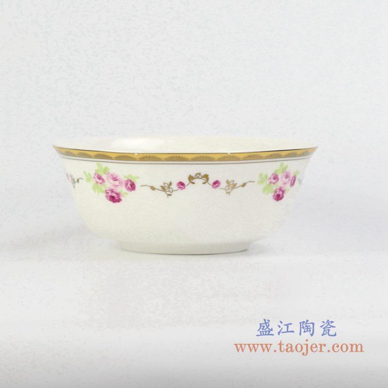 6寸骨瓷金边红月季面碗汤碗