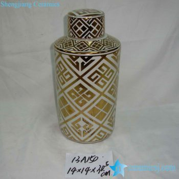 rzka13a150    金边 金色线条图案圆形茶叶罐直筒盖罐 糖果罐
