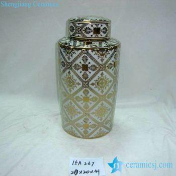 rzka15a267     金边 金色线条图案圆形茶叶罐直筒盖罐 糖果罐