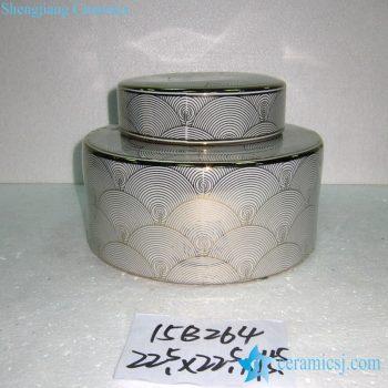 rzka15b264-2   金边 金色线条海浪纹扇形纹直筒圆形茶叶罐 盖罐 糖果罐