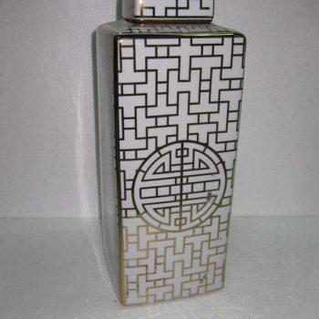 rzka15b281   金边 金色线条方形直筒茶叶罐 盖罐 糖果罐