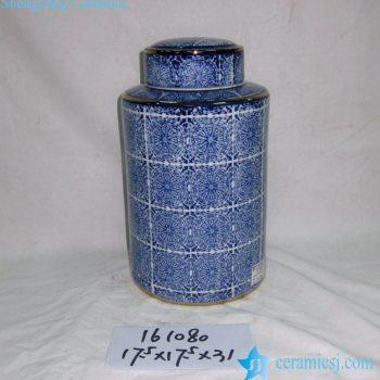 rzka161080   青花 图案 直筒镀金边 茶叶罐 盖罐 糖果罐