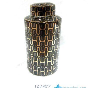 rzka161257   金色黑底线条 直筒陶瓷罐 茶叶罐 糖果罐