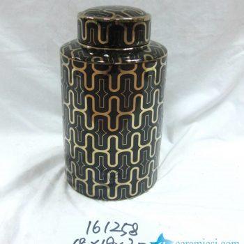 rzka161258    金色黑底线条 直筒陶瓷罐 茶叶罐 糖果罐