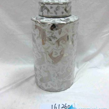 rzka161260    银边 银色游鱼年年有余陶瓷罐 糖果罐 茶叶罐