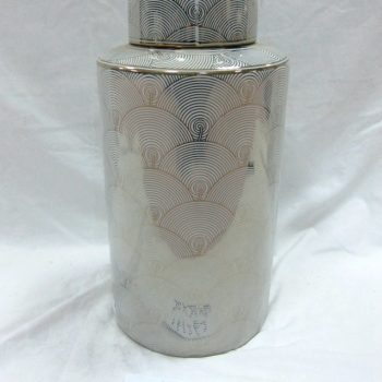 rzka161262    金边 金色海浪纹 线条直筒陶瓷罐 糖果罐 茶叶罐