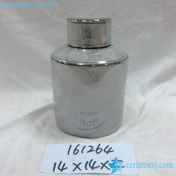 rzka161264 镀银边 海浪纹 线条直筒陶瓷罐 糖果罐 茶叶罐 矮