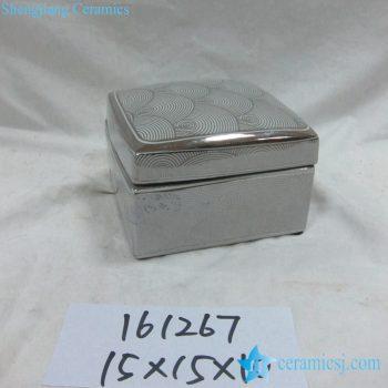 rzka161267 银边 银色海浪纹线条方形印泥盒 储物盒 茶叶罐