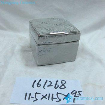 rzka161268   银边  银色海浪纹线条方形印泥盒 储物盒