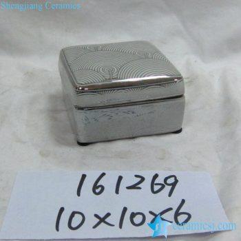 rzka161269   银边  银色海浪纹线条方形印泥盒 储物盒