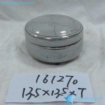 rzka161270     银边  银色海浪纹线条圆形印泥盒 储物盒