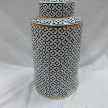 rzka161271    金边黑底 陶瓷罐 茶叶罐 糖果罐 大号